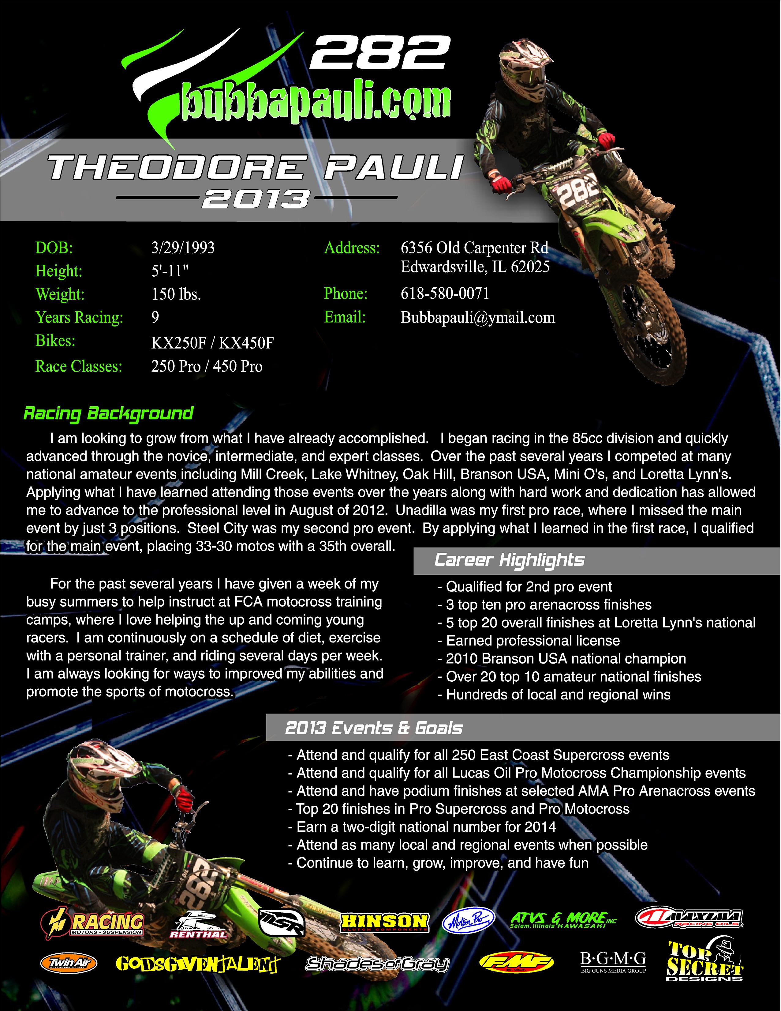 sponsor bubba pauli    resume