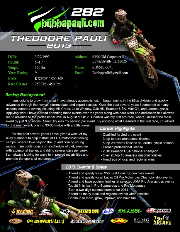 Proforma Of Cv Mx Sponsorship Resume Sample Motocross Distilled Mag WordPress Com